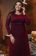 Плаття жіноче демісезонне тепле темно-зелене розміри: 50-62, фото 3