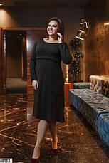 Платье женское демисезонное теплое черное размеры: 50-62, фото 3