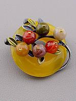 Брошь из натуральных камней Яшма и Сердолик - очаровательное женское украшение