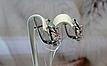 Серебряные серьги - корона с розовыми камнями, фото 3