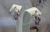 Серебряные серьги - корона с розовыми камнями