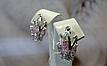 Серебряные серьги - корона с розовыми камнями, фото 2