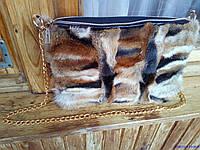Сумка из натурального меха лисы с кожей, размер 30х20х4 см, фото 1
