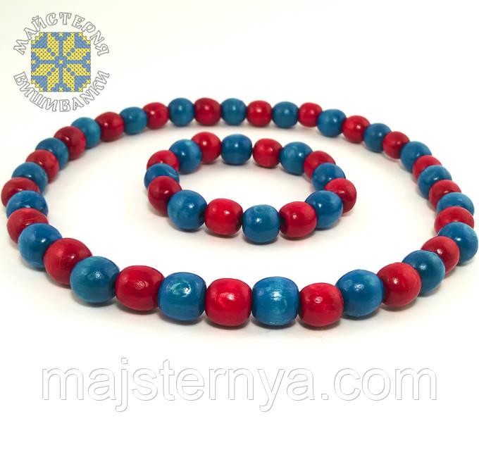 Буси та браслет блакитно-червоні