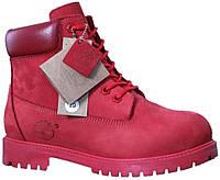 63eb9b9f Зимние женские ботинки Timberland Red (Тимберленд, красные) внутри  шерстяной мех