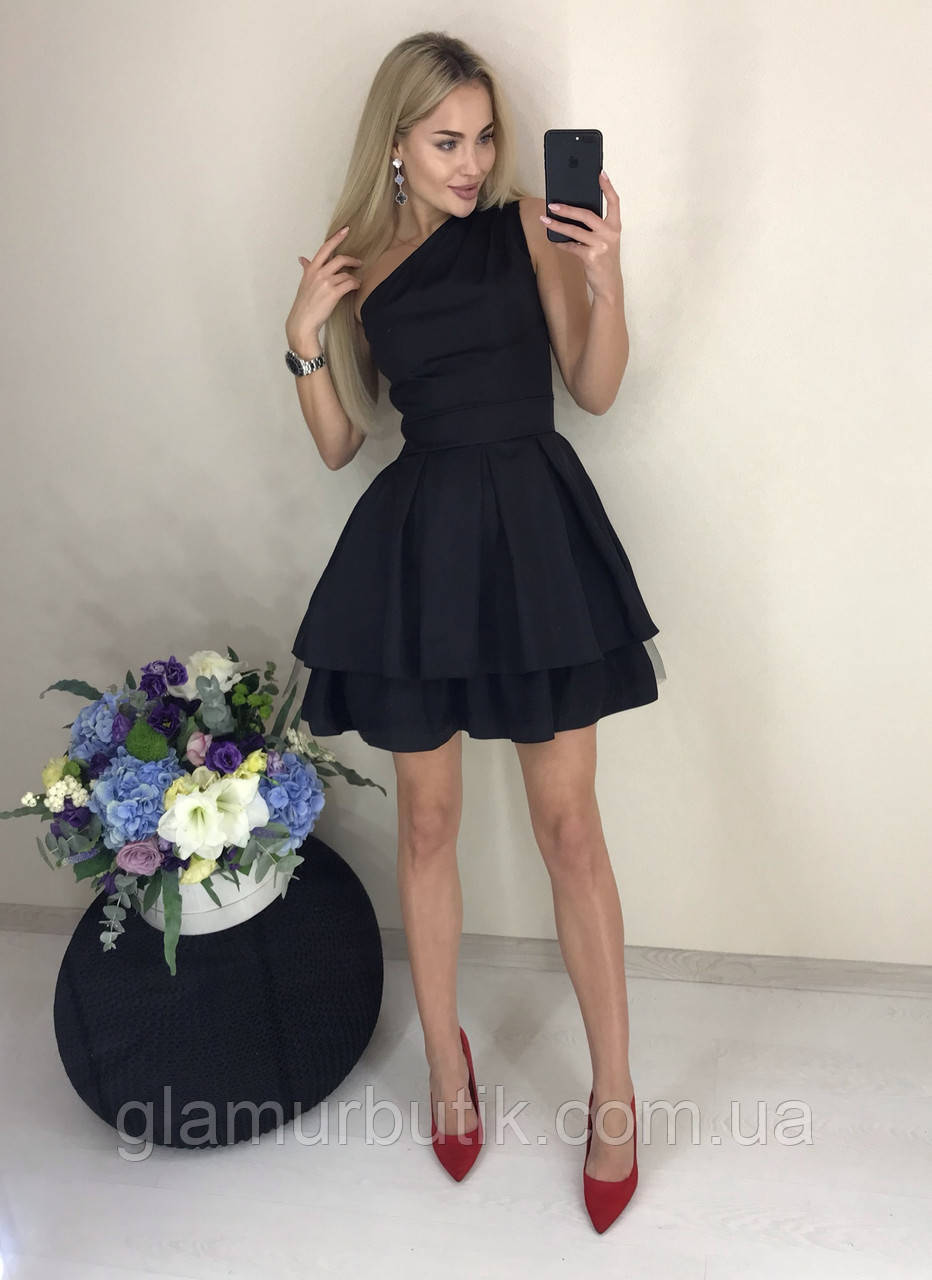09fe0cc269f Шикарное нарядное вечернее выходное стильное платье с пышной юбкой и  открытым плечем чёрное 42-44