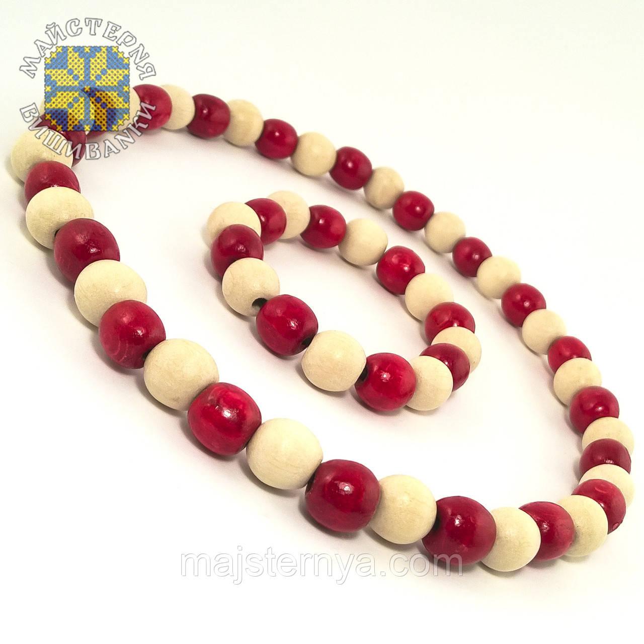 Буси з браслетом із дерев'яних бусин, два кольори Червоний; Білий