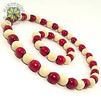 Буси з браслетом із дерев'яних бусин, два кольори Червоний; Білий, фото 1