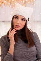 Зимняя женская шапка , с ушками.