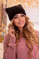 Зимняя женская шапка , с ушками, черная.