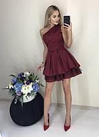 Шикарное нарядное вечернее выходное стильное платье с пышной юбкой и открытым плечем бордовое 42-44 44-46