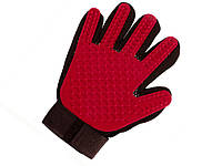 Перчатка для вычесывания шерсти животных Anpro  Красный
