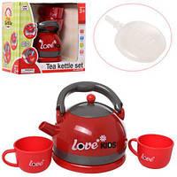 Чайник дитячий іграшковий 15см, чашки 2шт, звук, світло