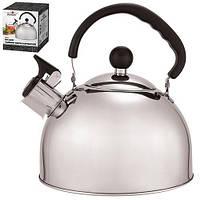 Чайник металлический с крышкой-свистком 2.5л одинарное дно