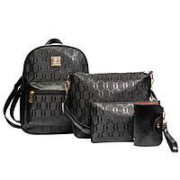 Рюкзак и сумки, набор 4в1 из эко-кожи, Женский городской рюкзак, сумки, кошелек, Цвет черный  AL-7437-10