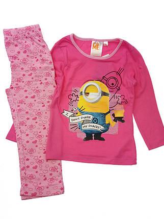 Пижама детская для девочки Миньйоны розовая 4,8 лет, фото 2