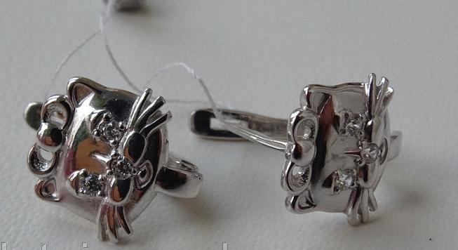 Серебряные серьги - котята детские