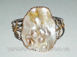 Серебряный браслет ручной работы 925 пробы c натуральным жемчугом барокко и перламутром