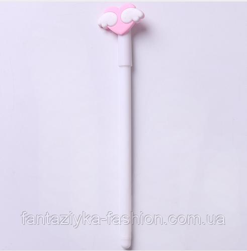Шариковая ручка сердце с крыльями (белая)