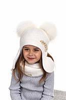Шерстяная шапка ушанка для девочки с натуральными помпонами Соня, Nikola, фото 1