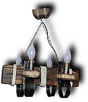Люстра подвес из натурального дерева на 4 лампы.KP-C4 /Б/
