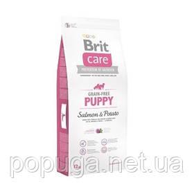 Корм Brit Care Grain-free Puppy Salmon с лососем для щенков и молодых собак всех пород, 12 кг