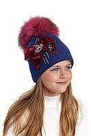 Шерстяная шапка для девочки с натуральным помпоном Эрика, Nikola