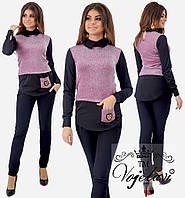 fb8cbfd95c3 Женский костюм рубашка обманка + брюки   645 в расцветках (р.42-46