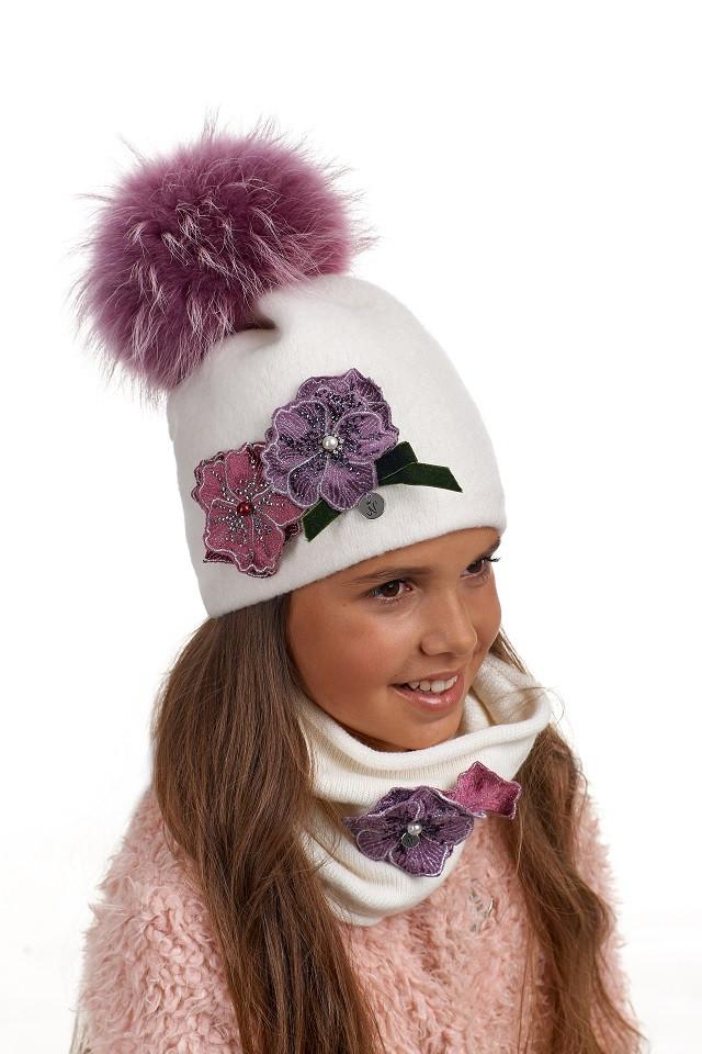 Комплект для девочки шапка и снуд-туннель Екатерина, Nikola