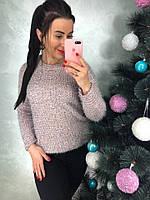 Розовый свитер с пушистыми нитями, фото 1
