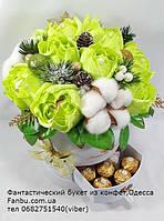 """Стильный букет из конфет в  белой коробке """"Зимняя свежесть""""№11+9, фото 1"""