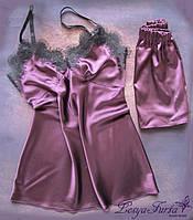 """Женская пижама """"Sweet night"""" (майка+шорты) с кружевом, ручной работы."""