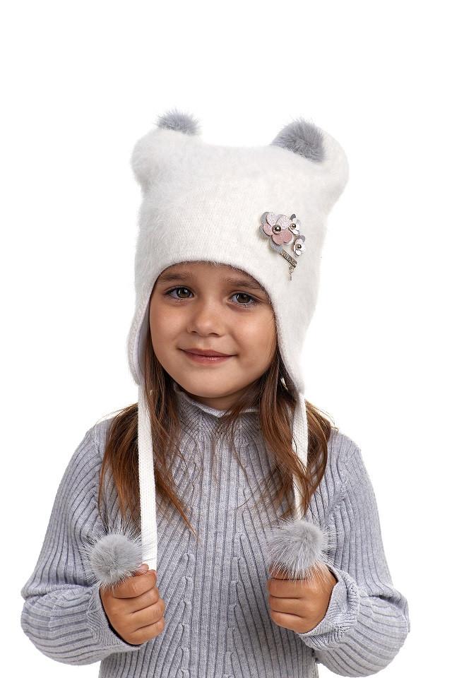 Шерстяная шапка ушанка для девочки Лора, Nikola