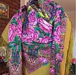 Медовый полдень 1724-2, павлопосадский платок шерстяной  с шелковой бахромой, фото 6