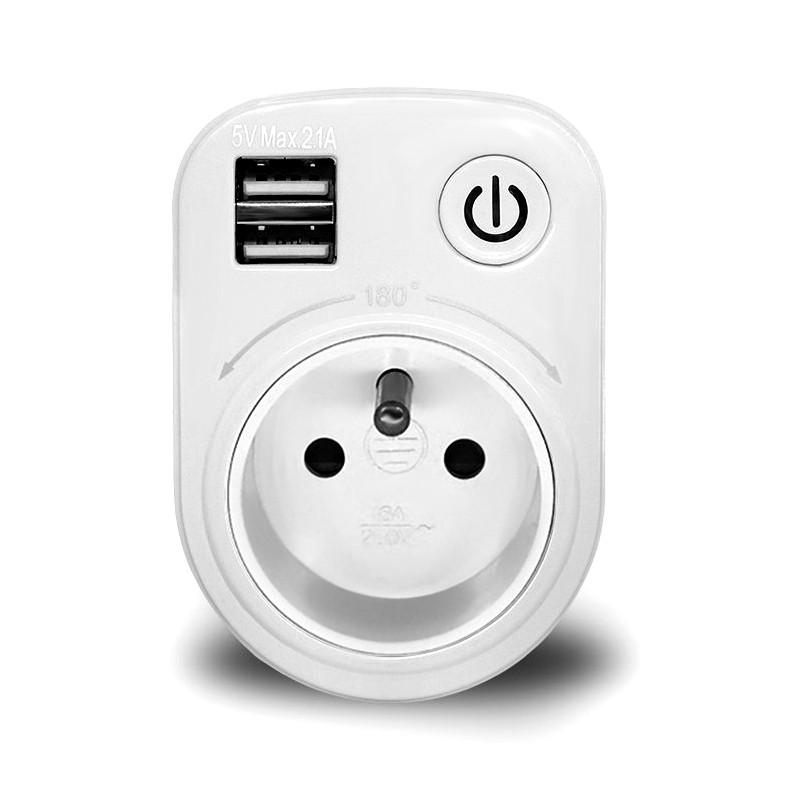 LoskiiSH-505VМакс.2.1AВнутренний электронный Smart 2 USB-порта 180 градусов Стена Разъем Переключатель - 1TopShop