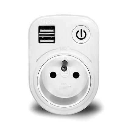 LoskiiSH-505VМакс.2.1AВнутренний электронный Smart 2 USB-порта 180 градусов Стена Разъем Переключатель - 1TopShop, фото 2