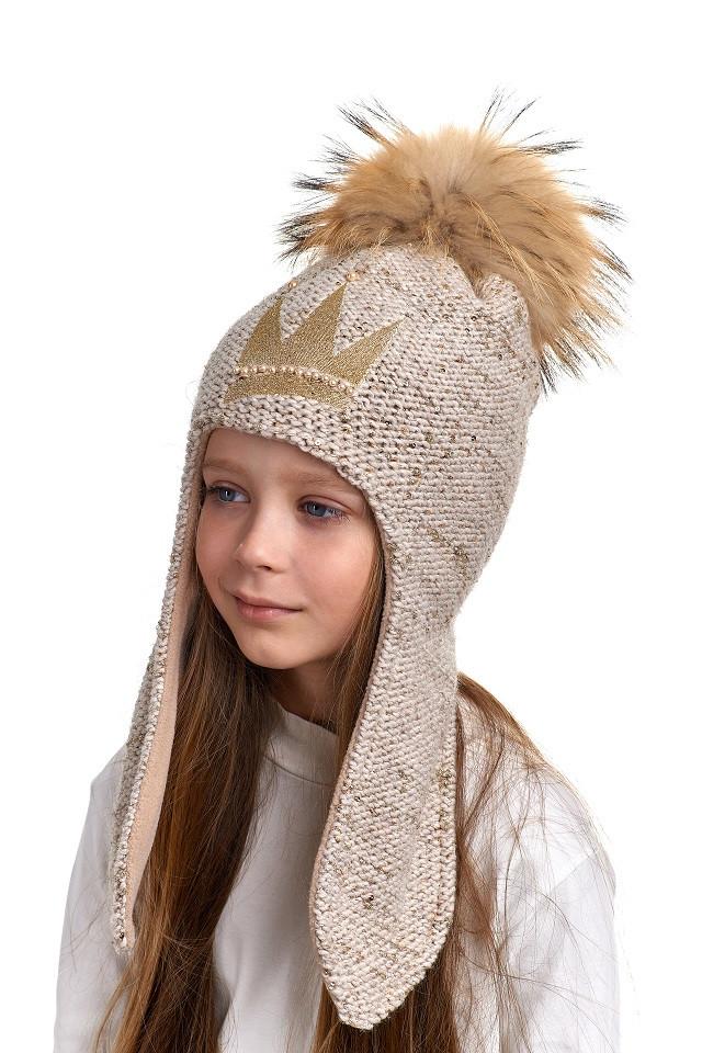 Шапка с ушками для девочки с тремя натуральными помпонами Queen, Nikola, фото 1