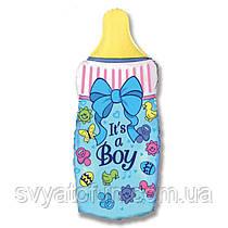 """Фольгований міні-куля Пляшечка для годування блакитна 14""""(36см) FlexMetal"""