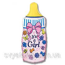 """Фольгований міні-куля """"Пляшка для годування рожева"""" 14""""(36см) FlexMetal"""