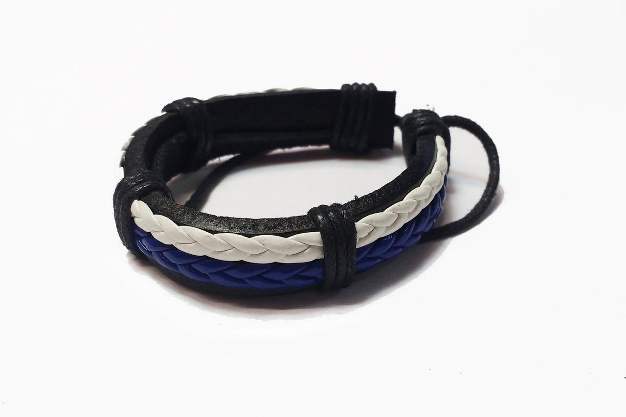 Браслет экокожа Braid Blue Wht