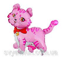 """Фольгований міні-куля """"Кошеня з бантом"""", рожевий, 14""""(35см), FlexMetal"""