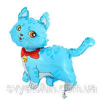 """Фольгований міні-куля """"Кошеня з бантом"""", блакитний, 14""""(35см), FlexMetal"""