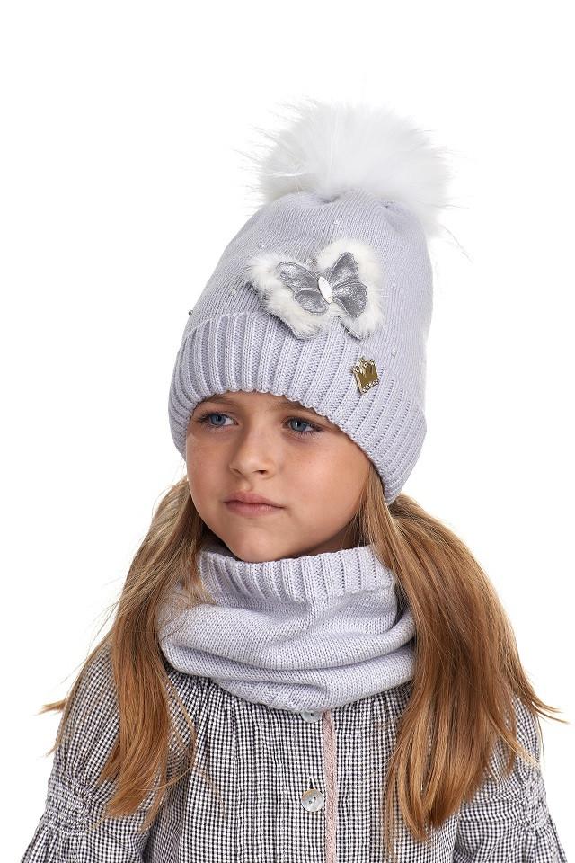 Комплект для девочки шапка и снуд, Nikola