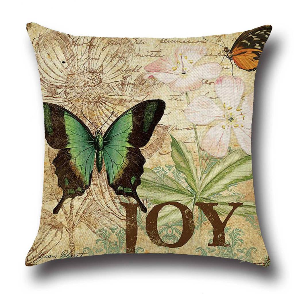 Подушка с принтом Зеленая бабочка