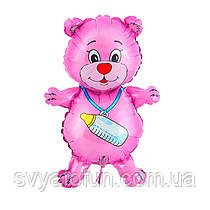"""Фольгований міні-куля Ведмедик з соскою рожевий 14""""(35см) FlexMetal"""