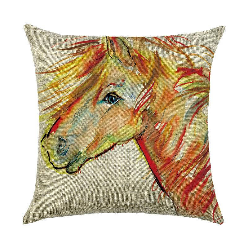 Подушка с принтом Рыжий конь
