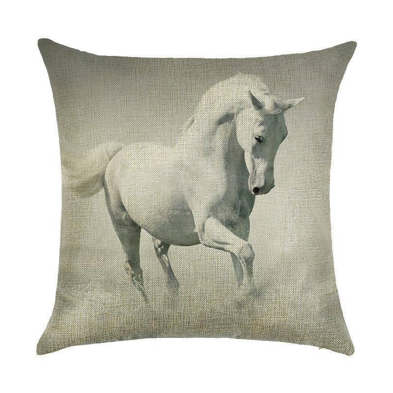Подушка с принтом Белая лошадь