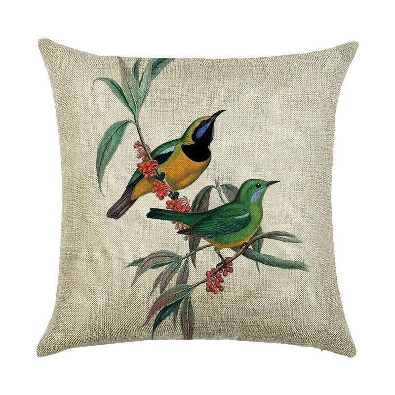 Подушка с принтом Птичья пара