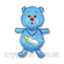 """Фольгований міні-куля """"Ведмедик з соскою синій"""", 14""""(35см), Flexmetal"""