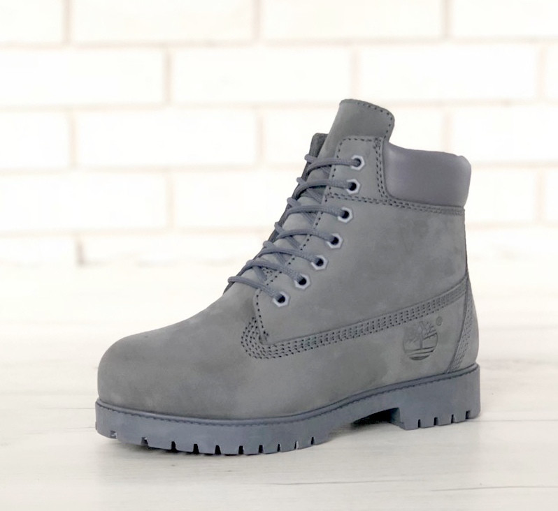 Зимние ботинки Timberland grey, женские ботинки с шерстяным мехом. ТОП Реплика ААА класса.